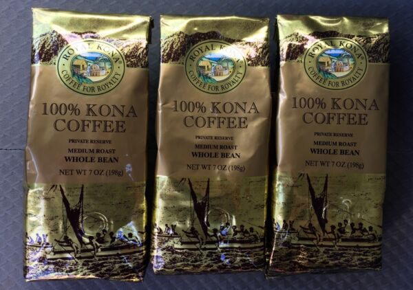 *** Fresh from HAWAII *** 3 Bags ROYAL KONA 100% Kona Coffee Whole Bean