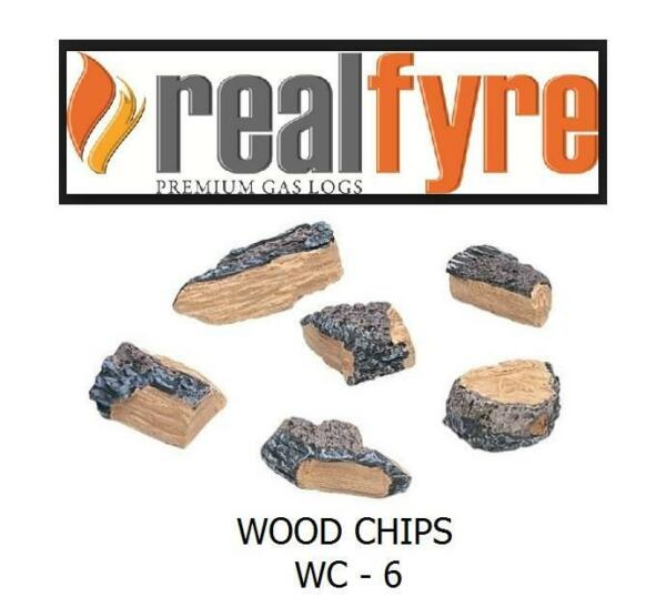 RH Peterson Real Fyre 6 Piece Wood Chips WC-6  SHIPS FREE  Gas Log Fireplace Set