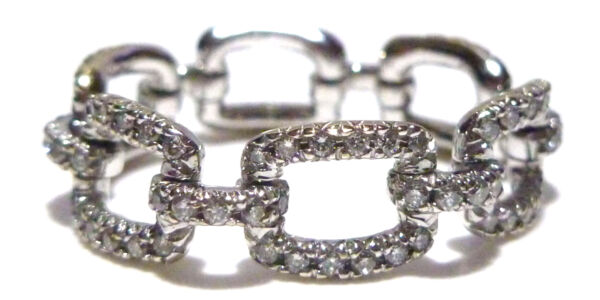 18K WHITE GOLD ENCRUSTED 1.00CT DIAMOND BELT BUCKLE CABLE ETERNITY RING BAND
