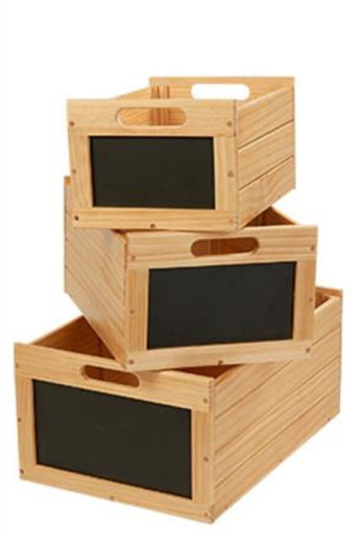Storage Produce Bins Crates Vintage Natural Wood Nesting Chalkboard Toy Cubby