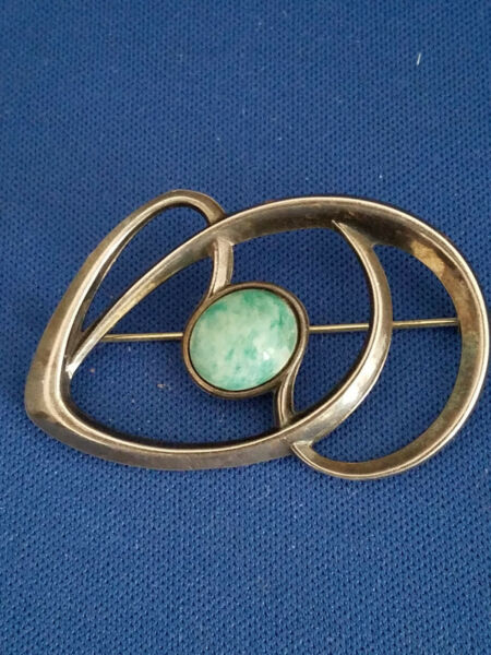 David Andersen Modernist Sterling Silver Amazonite Abstract Brooch Harry Sorby
