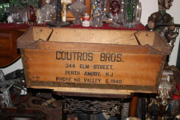 LARGE Antique Perth Amboy New Jersey Wood Produce Crate-Coutros Bros.-Country
