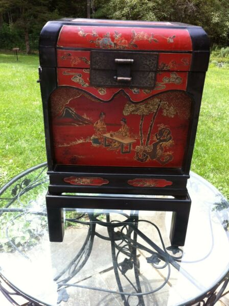 Red Chinoiserie Painted Oriental Style Box Lidded Chest on Stand