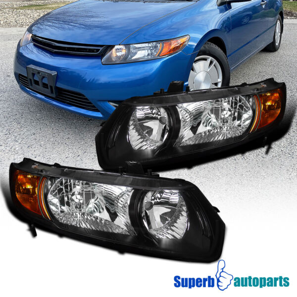 For 2006 2011 Honda Civic Coupe 2Dr Headlights Head Lamps Black