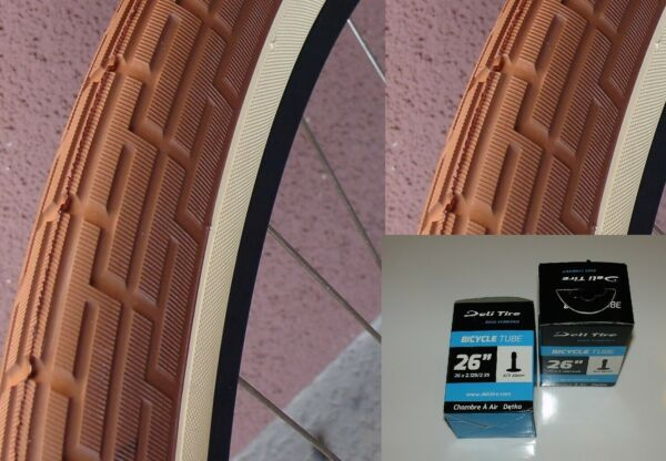 Pair (2) Tan Brown 26x2.35 Bicycle Tires Slick Beach Cruiser Chopper + 2 Tubes