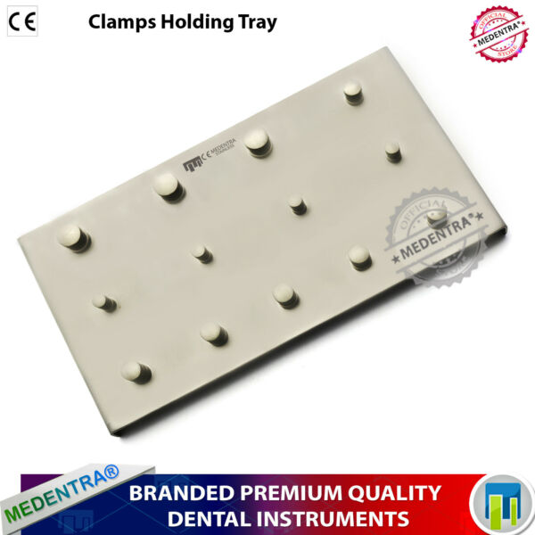 X1 DENTAL RUBBER DAM 13 CLAMPS HOLDING UPPER LOWER CLAMP TRAY STAINLESS PLATE CE