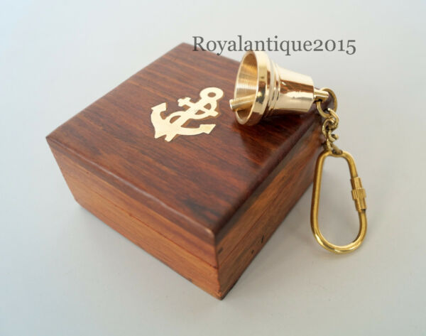 Vintage Brass Bell Key Chain Golden Finish Antique Nautical Gift With Wooden Box