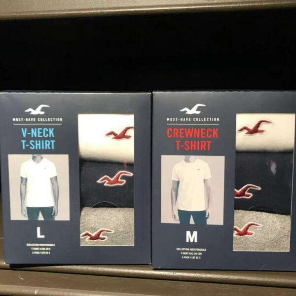NWT Hollister Abercrombie Must Have V Neck Crew Neck T Shirt 3 Pack FOR HIM $36 $29.99