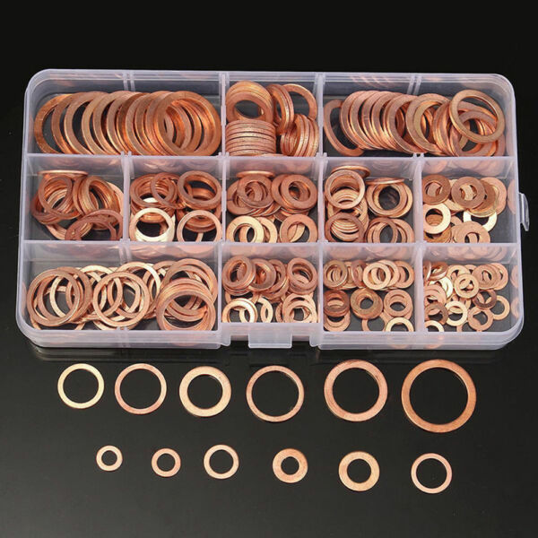 150Pcs Metric Copper Flat Washers Gaskets Assortment 15 Sizes Set Kit With Box