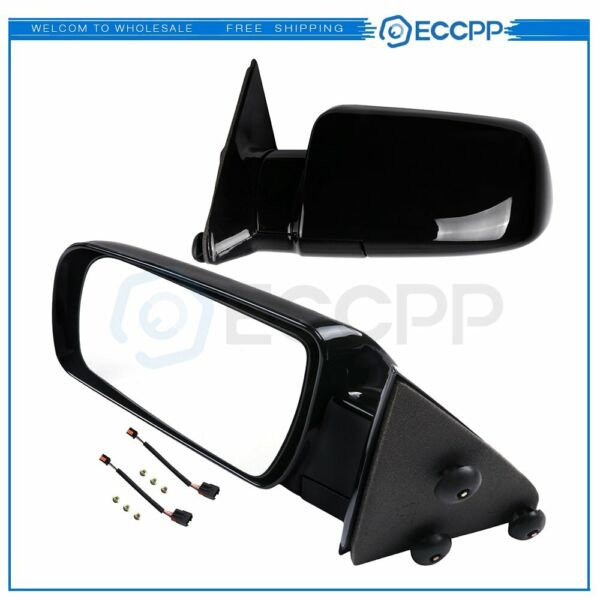 Side View Manual Mirrors w Metal Bases Pair For 88-98 GMC Chevy Pickup Truck