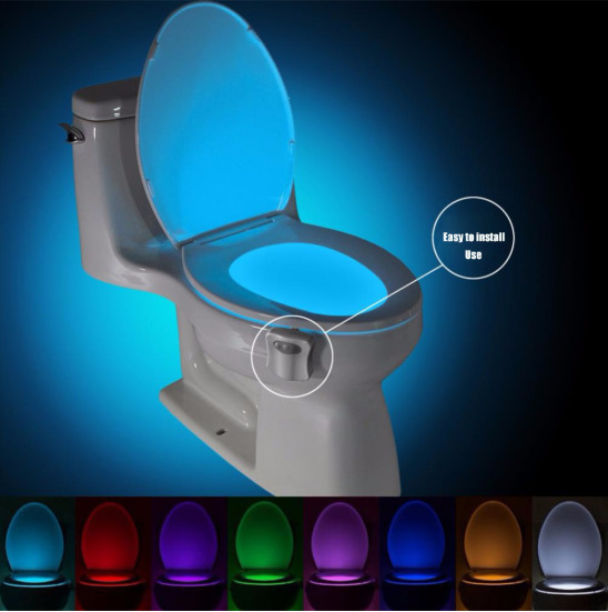 Auto Sensor Active Bathroom Toilet Night Light LED Motion With 8 Color Changing