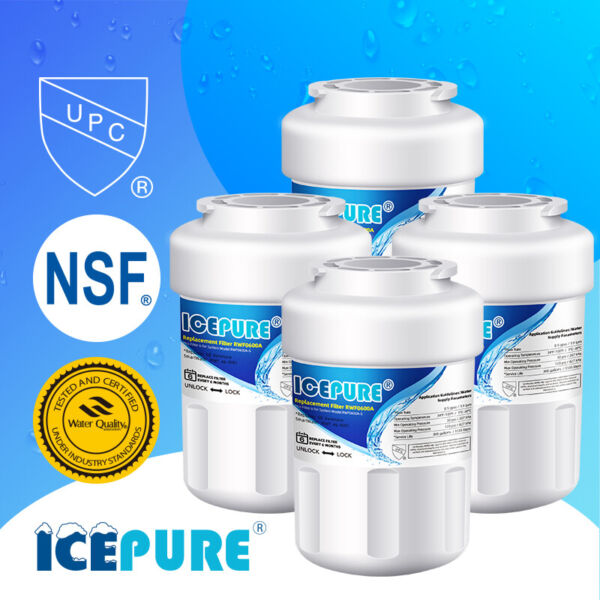 4 PACK ICEPURE GE MWF SmartWater MWFP GWF Compatible Refrigerator Water Filter