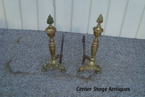 59324  Pair Brass Fireplace Andirons