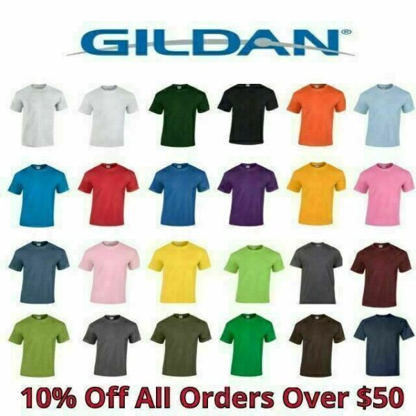 Gildan Mens T Shirts 5000 Solid Heavyweight Cotton Short Sleeve Blank Tee S 3XL $9.99
