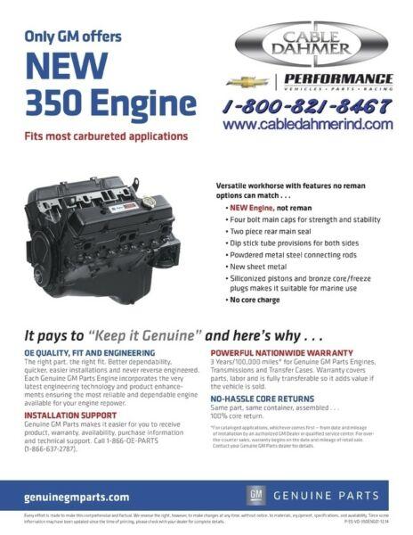 CHEVROLET  GM Goodwrench 350ci Engine OEM Free Shipping!! 10067353 12681429