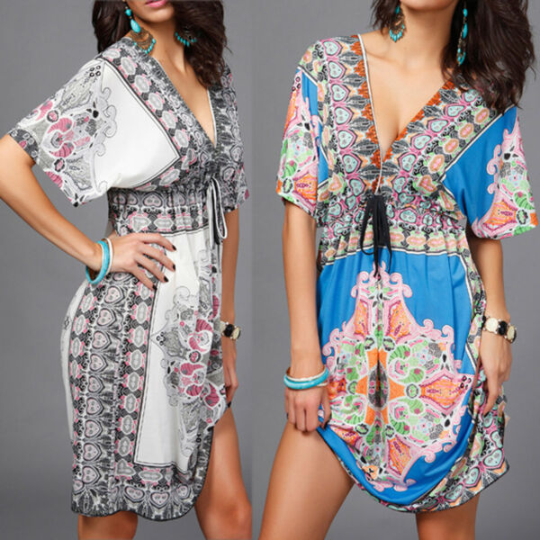 Plus Size Vintage Floral Short-Sleeves Bohemia Bathing Suit Beach Dress Cover Up