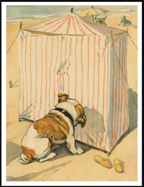 ENGLISH BULLDOG OUTSIDE A BATHING TENT LOVELY VINTAGE STYLE DOG ART PRINT POSTER