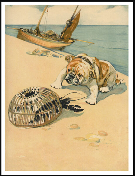 ENGLISH BULLDOG FINDS A LOBSTER ON BEACH LOVELY VINTAGE STYLE DOG PRINT POSTER