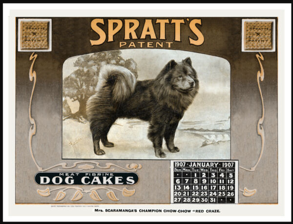 CHOW CHOW ON LOVELY VINTAGE STYLE DOG FOOD CALENDAR ART PRINT POSTER