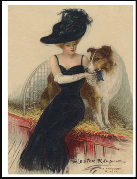 ROUGH COLLIE AND LADY OWNER AT A SHOW LOVELY VINTAGE STYLE DOG ART PRINT POSTER
