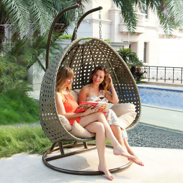 Island Gale 2 Person Heavy Duty Rattan Hammock Hanging Wicker Porch Swing Chair