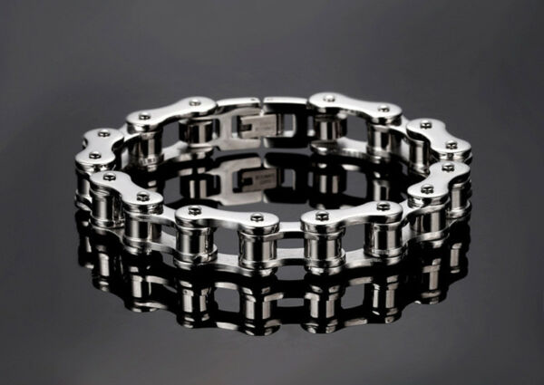 Mens Biker Chain Bracelet Silver Gold Bicycle Link Stainless Steel Wristband New $9.89