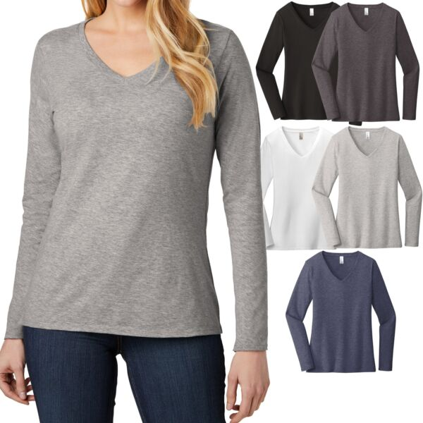 Ladies Long Sleeve T-Shirt VNeck Soft Preshrunk Cotton Womens Tee XS-XL 2X 3X 4X