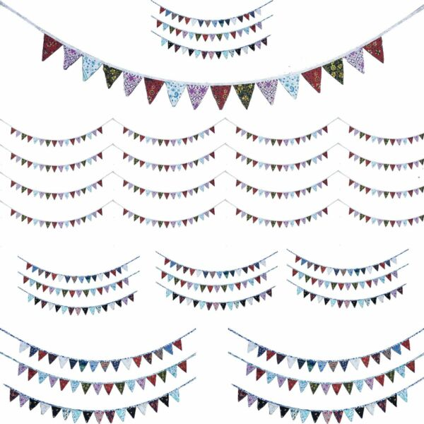 100PCS Banner Bunting Pennant Flags Party Wedding Rainbow Decor Flag New Indian
