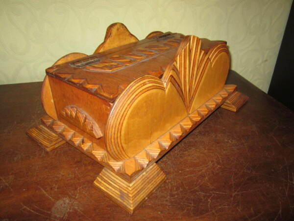 A stunning Odeon style Tramp Art  Folk Art box