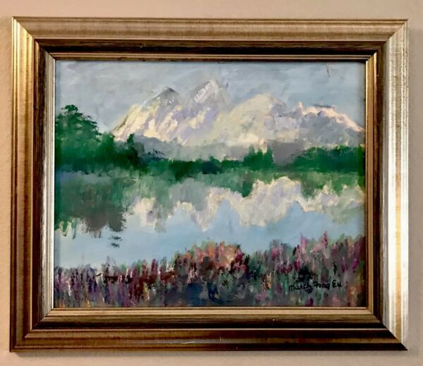 Original Oil Painting Mountain Landscape Famous Chinese American  Artist Signed