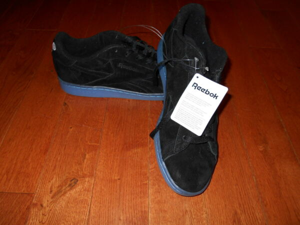 Men's Reebok Suede Classic Sz 9.5 Black Shoes Sneaker Club C 85 Tennis Ice Blue