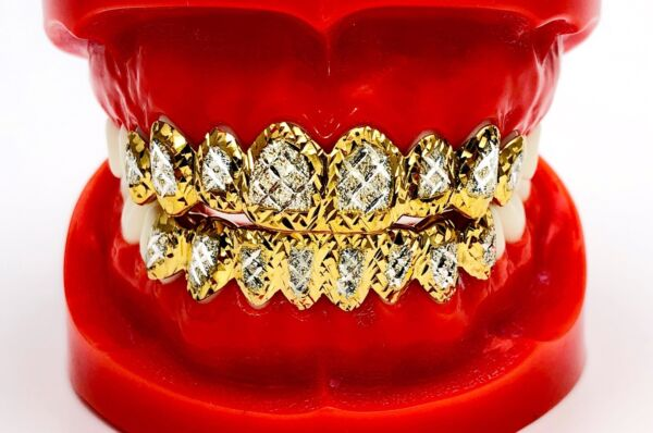 SOLID SILVER W 18K YELLOW GOLD TWO TONE PLATED PRINCESS DUST CUT GRILL GRILLZ