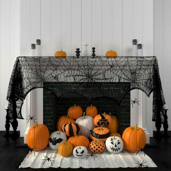18 x 96 Inch Halloween Decoration Black Lace Spider Web Fireplace Mantle