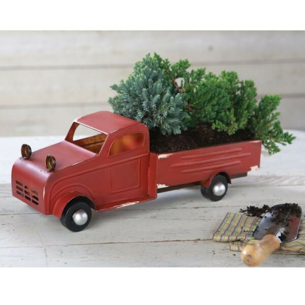 Mud Pie H8 Ho! Ho! Ho! Christmas Rustic Decorative Vintage Tin Truck 7x17in