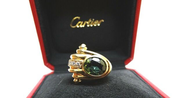 Authentic Vintage Cartier 18k Gold Oval Cut Green Tourmaline Diamond Ring 4.15CT