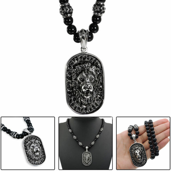 Men's Vintage Stainless Steel Lion Head Shield Pendant Onyx Beads Chain Necklace