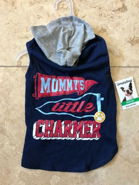 SIMPLY DOG. Navy quot;MOMMY#x27;S LITTLE CHARMERquot; HOODIE puppy dog small $16.50