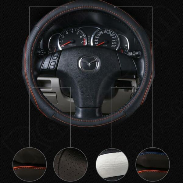 38cm Anti-Slip Car Truck Genuine Leather Steering Wheel Cover Black and DIY NEW