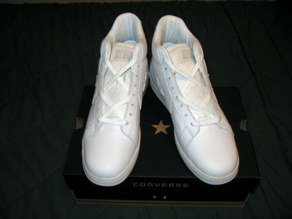 CONVERSE ALL STAR PRO LEATHER HIGH TOP SNEAKERS WHITE-WHITE SZ. 10.5 [New Other]