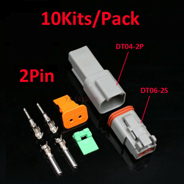 10Kits Deutsch DT04-2P/DT06-2S Sealed Waterproof Electrical Wire Connector Plug
