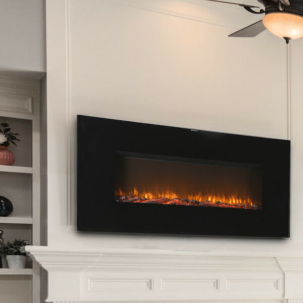 Wall Mount Electric Fireplace Hang Heater Glass Remote Control Adjustable Black