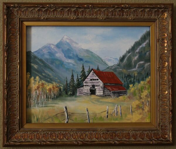 Oil Painting Landscape Rustic Cabin in Mountains Fall Signed Original Framed US