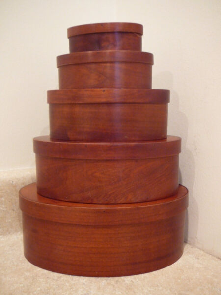 WOODEN CHERRY SHAKER STYLE OVAL LIDDED NESTED PANTRY STORAGE BOX 5 STACK