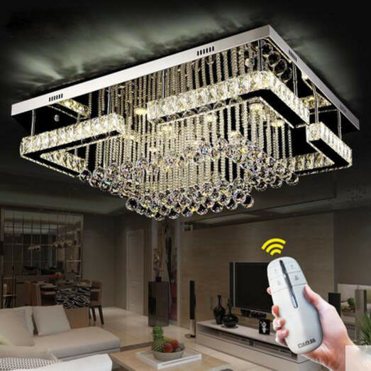 Rectangle K9 Crystal lamp LED ceiling lamp modern minimalist living room bedroom