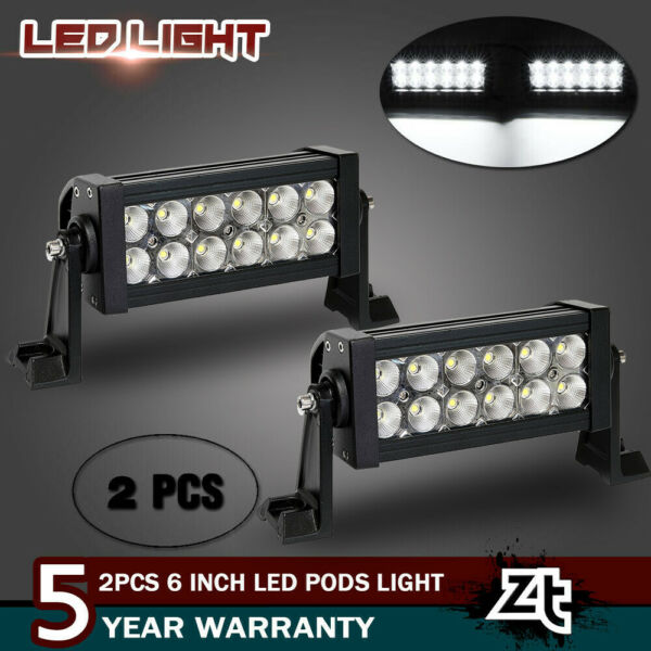 2x 7''inch LED Pods Light Bar Flood Truck Offroad 4WD SUV Driving Fog Boat Light