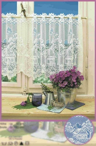 New Western Lace Kitchen Curtain Warp Knitted Jacquard Tree House Coffee Curtain
