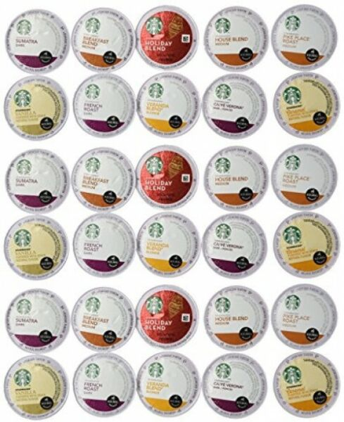 30 Count Variety Pack of Starbucks Coffee K-Cups for All Keurig K Cup Brewers -