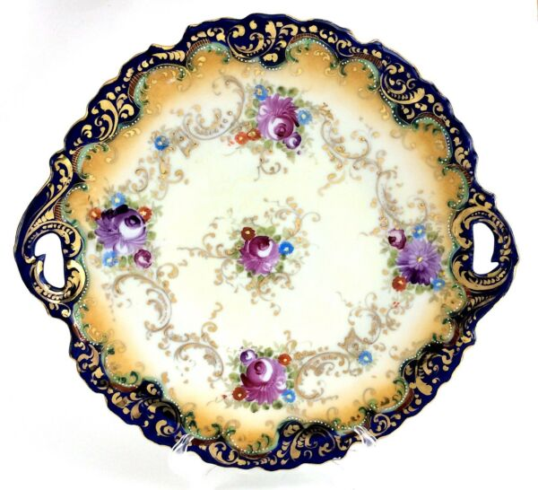 Vintage Floral Hand Painted Fine Bone China Gilt Edge Decor Flowers Platter H749