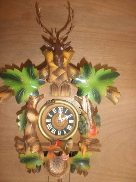 German Black Forest  Hunter SEE VIDEO musical 1 day Cuckoo Clock CK2158