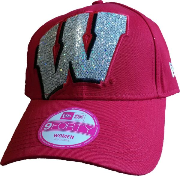 Wisconsin Badgers Women's Glitter Glam 2 Adjustable New Era 9FORTY Hat - NEW